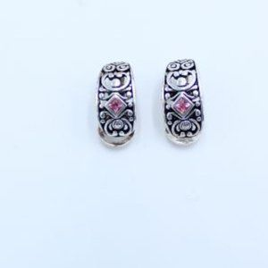 Jewelry - Silver with Pink Stone Earrings